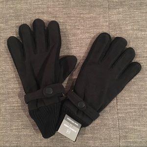 NWT Van Heusen black fleece lined gloves L / XL